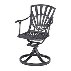 Home Styles Largo Patio Swivel Dining Chair With Cushion, Charcoal