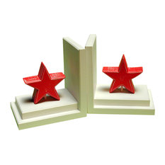 Distressed Star Bookends, Red