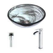 ANZZI Mezzo Series Deco-Glass Vessel Sink with Key Faucet, Polished Chrome