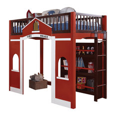 Acme Furniture - Fola Loft Bed and Bookshelf, Red, White and Espresso - Loft Beds