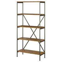 Kathy Ireland Home Ironworks 5 Shelf Etagere Bookcase, Vintage Golden Pine