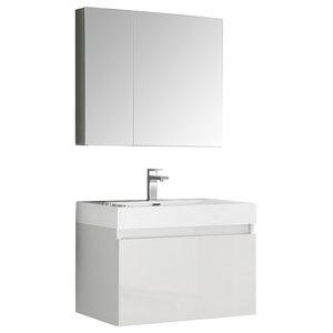 """Mezzo 30"""" White Bathroom Vanity and Medicine Cabinet"""