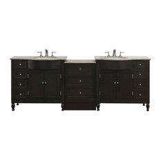 95 Inch Espresso Double Sink Bathroom Vanity, Travertine Top, Transitional