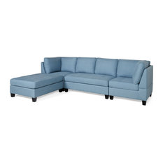 Tarim 4 Seat Fabric Sectional Blue And Dark Brown
