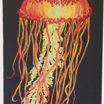 "My Island - Vivid Jellyfish Canvas Painting, 16x24"" - Bright and bold, this dramatic jellyfish painting on canvas is a real attention grabber!  Perfect for the beach house or mainland home, wherever a touch of the coast is needed.  In shades of red, orange, and yellow with a black background.  This painting is 16 x 24"" and ready to hang!"