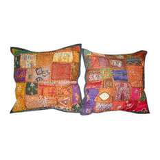 Mogul Interior - Indian Patchwork Sari Pillow Cushion Covers, Set of 2 - Decorative Pillows