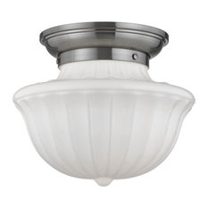 Hudson Valley Dutchess 1-Light Medium Flush Mount, Satin Nickel