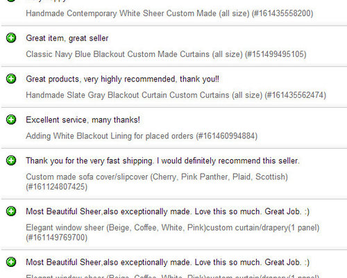 Best sell curtains and the review on my eBay store