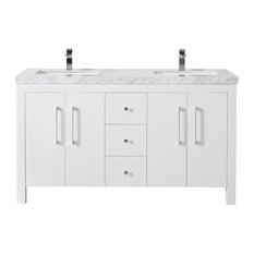 "Adler 60"" White Double Sink Bathroom Vanity, Without Faucet"