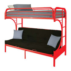 Eclipse Futon Bunk Bed, Red, Twin Over Full
