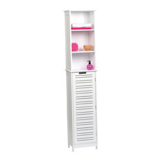 Freestanding Bath Wood Linen Tower Cabinet Shelves and Drawers Storage, Miami