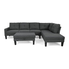 GDF Studio Gill Modern Fabric Sectional With Ottoman, Dark Gray/Black