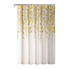 "Lush Decor - Weeping Flower Shower Curtain, Yellow/Gray, 72""x72"" - Shower Curtains"