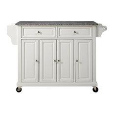 Solid Granite Top Kitchen Cart/Island, White Finish