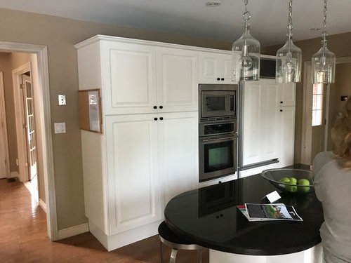 What To Do With Floor To Ceiling Pantry In Two Tone Kitchen