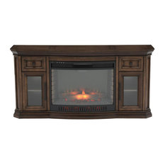 """65"""" Bow Front TV Stand Infrared Electric Fireplace in Oak"""