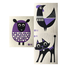 Swedish Dishcloths, Package of 3, Modern Retro Purple Sheep/Rooster/Cat