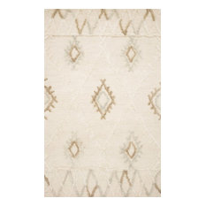 """Contrasting Pile Heights and Texture Wool Symbology Ivory/Slate Rug, 7'-9"""" X 9'-"""