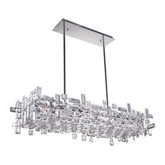 "35"" 12-Light Chandelier With Chrome Finish"