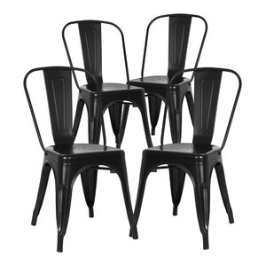 Poly and Bark Trattoria Side Chair, Black, Set of 4