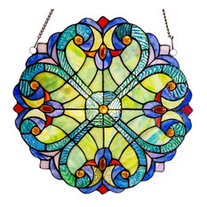 """River of Goods - 12"""" Stained Glass Halston Window Panel, Blue - Stained Glass Panels"""
