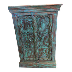 Mogul Interior - Consigned Antique Distressed Blue Side Table, Nightstand, Bar Cabinet Furniture - Side Tables And End Tables