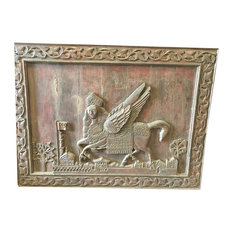 Mogul Interior - Consigned Antique Indian Al-Buraq Hand-Carved Wood Wall Sculpture - Wall Sculptures