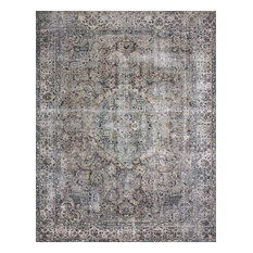 "Taupe Stone Blue Printed Polyester Layla LAY-06 Area Rug by Loloi II, 9'-0""x12'"