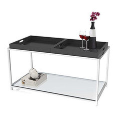 Group Line Marketing LLC   Modern Glass Top Metal Coffee Table With Black  Removable Trays