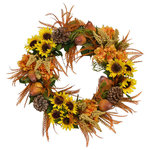 Creative Displays & Designs - Sunflower, Pear and Pinecone Wreath - Wreath decorated with sunflower bunches, pears, pinecones, orange hydrangeas, pale yellow heather and plastic feathers.