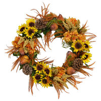 Sunflower, Pear and Pinecone Wreath