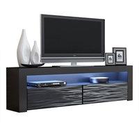 "TV Stand Milano Classic Black Body Modern 65"" TV Stand LED, Black/Wavyblack"