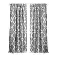 Ironwork Sateen Woven Blackout Pinch Pleat Curtain Panel Pair, Silver, 96""
