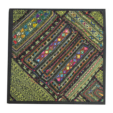"Mogul Interior - Indian Patchwork Banjara Sequin Work Green Pillow Sham, 18""x18"" - Pillowcases and Shams"