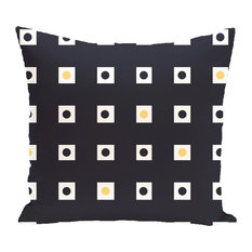 """Hip To Be Square Geometric Print Outdoor Pillow, Bewitching, 18""""x18"""""""