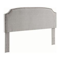 Beige Linen Upholsterd Headboard With Nailheads King/California King