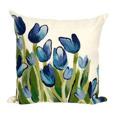 "Allover Tulips Blue Pillow - 20"" SQ"