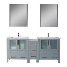 "Sydney 72"" Double Vanity Set With Mirrors, Metal Gray"