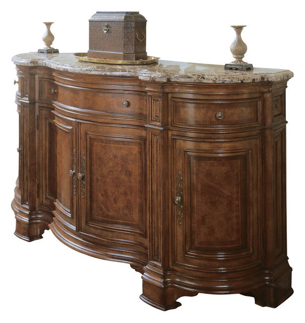 Villa Cortina Sideboard Credenza w Marble Top - Traditional - Buffets And Sideboards - by ShopLadder