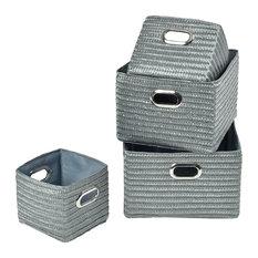 Rectangular Utilities Shelf Baskets Storage With Handles, 4-Piece Set, Gray