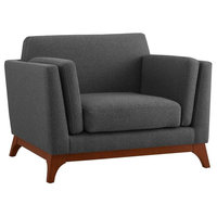 Upholstered Fabric Armchair, Gray