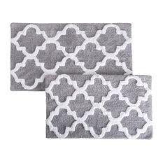 Lavish Home 100% Cotton 2 Piece Trellis Bathroom Mat Set, Silver