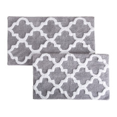 Lavish Home - Lavish Home 100% Cotton 2 Piece Trellis Bathroom Mat Set, Silver - Bath Mats