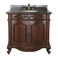 Avanity Provence Vanity, Antique Cherry Finish With Imperial Brown Granite Top