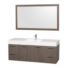 "Amare Single Grey Oak 60"" With White Acrylic Resin and 58"" Mirror"