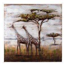Serengeti Mixed-Media Metal on Wood Wall Art