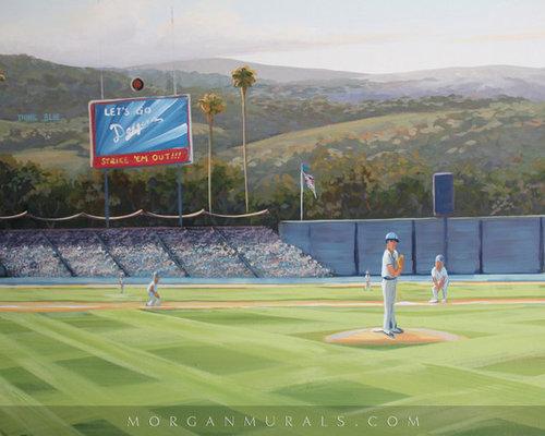 Baseball wall mural of dodgers stadium for Baseball field mural