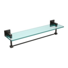 """Montero Collection 22"""" Glass Vanity Shelf With Integrated Towel Bar"""