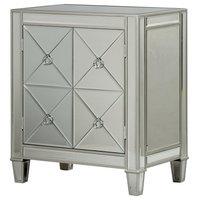 2 Door Beveled Mirror Cabinet, Antique Silver Trim