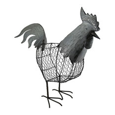 Metal Chicken Wire Decorative Standing Rooster Basket 18 Inch
